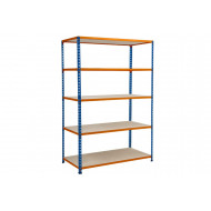 Rapid 2 shelving with 5 chipboard shelves 1525wx1600h (blue/orange)