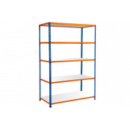 Rapid 2 Shelving With 5 Melamine Shelves 1525wx1980h (Blue/Orange)