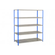 Rapid 2 Shelving With 5 Galvanized Shelves 1525Wx1980H (Blue/Grey)