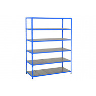 Rapid 2 Shelving With 6 Galvanized Shelves 1525wx1980h (Blue)