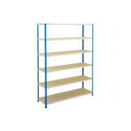 Rapid 2 Shelving With 6 Chipboard Shelves 1220wx1980h (Blue/Grey)