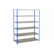 Rapid 2 Shelving With 6 Galvanized Shelves 1220wx1980h (Blue/Grey)