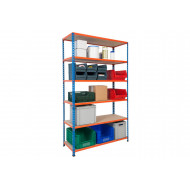 Rapid 2 Shelving With 6 Chipboard Shelves 1220wx1980h (Blue/Orange)