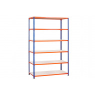 Rapid 2 Shelving With 6 Melamine Shelves 1525wx1980h (Blue/Orange)