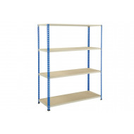 Rapid 2 Shelving With 4 Chipboard Shelves 1525wx1980h (Blue/Grey)