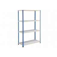 Rapid 2 Shelving With 4 Galvanized Shelves 1525wx1980h (Blue/Grey)