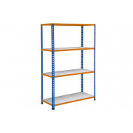 Rapid 2 Shelving With 4 Galvanized Shelves 1525Wx1980H (Blue/Orange)