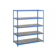 Rapid 2 Shelving With 5 Galvanized Shelves 1525wx1980h (Blue)