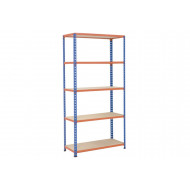 Rapid 2 Shelving With 5 Chipboard Shelves 915wx2440h (Blue/Orange)