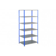 Rapid 2 Shelving With 6 Galvanized Shelves 915Wx2440H (Blue/Grey)