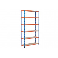 Rapid 2 Shelving With 6 Chipboard Shelves 915wx2440h (Blue/Orange)