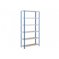 Rapid 2 Shelving With 6 Chipboard Shelves 1220wx2440h (Blue/Grey)