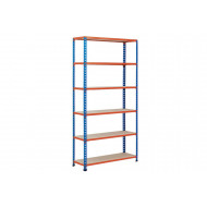 Rapid 2 Shelving With 6 Chipboard Shelves 1220Wx2440H (Blue/Orange)