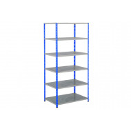 Rapid 2 Shelving With 6 Galvanized Shelves 1220wx2440h (Blue/Grey)