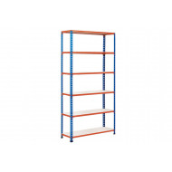 Rapid 2 Shelving With 6 Melamine Shelves 1220wx2440h (Blue/Orange)
