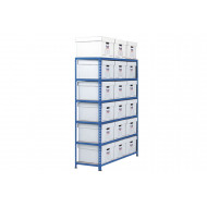Rapid 2 Single Sided Storage Bay With 18 White Document Boxes