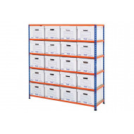 Rapid 2 Single Sided Storage Bay With 20 White Document Boxes