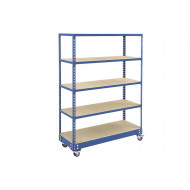 Rapid 2 Mobile Shelving Unit With 5 Shelves 1220Wx1700H (Blue)