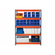 Rapid 3 Shelving With 5 Chipboard Shelves 900wx1800h (Blue/Orange)