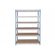 Rapid 3 Shelving With 6 Chipboard Shelves 1200wx1800h (Blue/Grey)