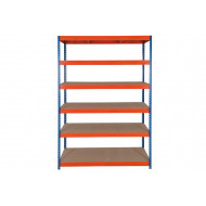 Rapid 3 Shelving With 6 Chipboard Shelves 1200wx1800h (Blue/Orange)