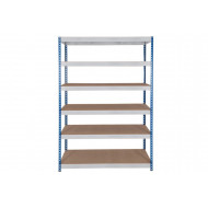 Rapid 3 Shelving With 6 Chipboard Shelves 1200wx2000h (Blue/Grey)