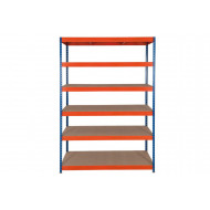 Rapid 3 Shelving With 6 Chipboard Shelves 1200wx2000h (Blue/Orange)