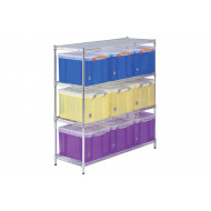 Chrome shelving with 9 x 35 litre really useful boxes
