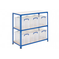 Really Useful Box Storage Unit With 6 x 24 Litre Clear Boxes