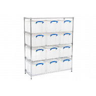 Chrome Shelving With 12 x 35 Litre Really Useful Boxes
