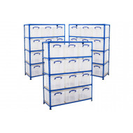 3 Bays Of Shelving With 12 x 35 Litre Clear Really Useful Boxes