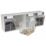 Tilted Front Storage Bins With 4 Sections