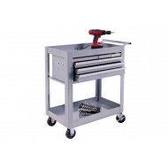 Silver Range Professional 2 Shelf Trolley With 3 Drawer Cabinet