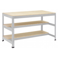 Rapid 1 Heavy Duty Workbench With Two Half Shelves (Grey)