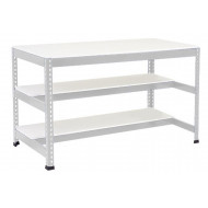 Rapid 1 Heavy Duty Workbench With 2 Half Melamine Shelves (Grey)