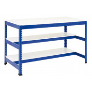 Rapid 1 Heavy Duty Workbench With Two Half Shelves (Blue)