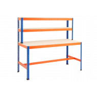 Rapid 1 Heavy Duty Workstation With T Bar Support (Blue/Orange)