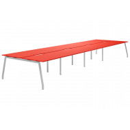 Next-Day Campos A-Frame 8 Person Back To Back Bench Desk (Red)