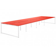 Next-Day Campos Hooped Leg 8 Person Back To Back Bench Desk (Red)