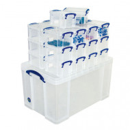 Really Useful Box Bundle Deal With 1 x 84ltr And 26 x 16ltr Boxes (Clear)