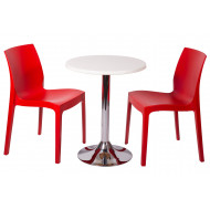 Next-Day Clearlake 3 Piece Round Dining Set (White Top)