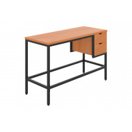 Shen Home Office Desk With 2 Drawers (Black Frame)