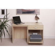 Small Office Desk Set With Single Drawer & Printer Shelf (Beech)