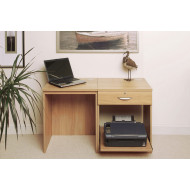 Small Office Desk Set With Single Drawer & Printer Shelf