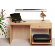 Small Office Desk Set With Single Drawer & Printer Shelf (Classic Oak)