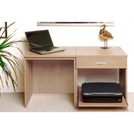 Small Office Desk Set With Single Drawer & Printer Shelf (Sandstone)