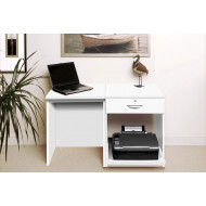Small Office Desk Set With Single Drawer & Printer Shelf (White)