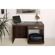 Small Office Desk Set With Single Drawer & Printer Shelf (Walnut)