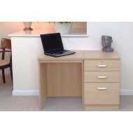 Small Office Desk Set With 2 Standard Drawers & 1 Filing Drawer (Beech)