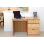 Small Office Desk Set With 2 Standard Drawers & 1 Filing Drawer (Classic Oak)